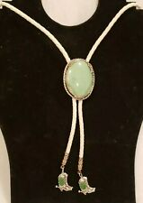 Bolo Tie Sterling Silver Oval Green Stone White Leather Southwesten Boot Tips