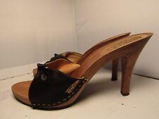Vintage 1980's Candies Original Sandals High Heels Slides Sexy Black 9 / 40