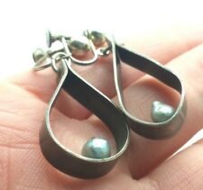 Silver 925 Earring 9g Na033 Modern Pearl Hoop Design Fine Sterling