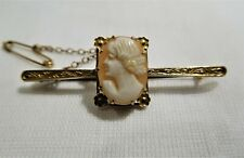 Antique 9 ct rose gold shell cameo bar brooch c 1920 Australia.