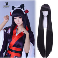 Gokou Ruri Shirakiin Ririchiyo Long Straight Black Purple Cosplay Wig USA Ship