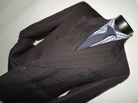 Baumler Black & Maroon stripe Double Breasted suit jacket 40 R pants 34X30