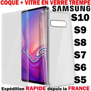 Coque Housse + Verre Trempé Pour Samsung S6 S7 S8 PLUS S9 S10 Note8 9 Protection