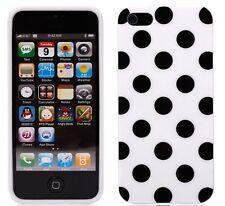 iPhone SE iPhone 5 5S Case - Polka Dot Back Cover- Black on White