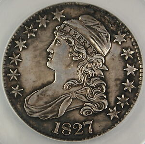 1827 Bust Silver Half Dollar, ANACS AU-58 Details, Environmental Damage Polished
