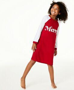 Family Pajamas Kids Girls Sleep Shirt, Red/White Merry, 14-16