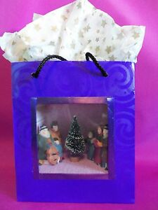 Dollhouse Miniature Christmas Carolers Scenario Roombox in a Gift Bag
