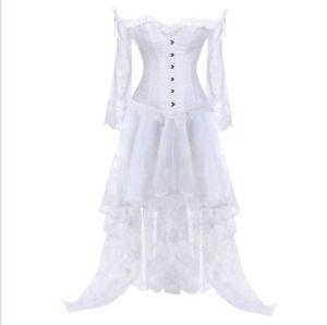 Burlesque Costume Corset Skirt Basque Cincher Lingerie Bustier Long Sleeve Lace
