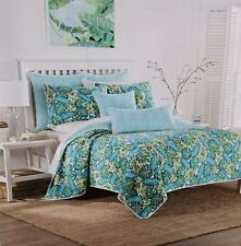 Nicole Miller Tropical Palm Leaves Foliage Blue Aqua Twin Quilt New
