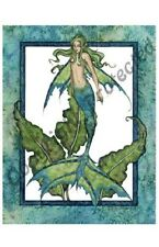 Amy Brown Print Mermaid Ocean Water Nymph Sprite New 11x17 Large Size Teal Green