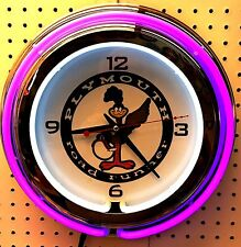 "15"" Plymouth Road Runner Sign Double Neon Clock Roadrunner"