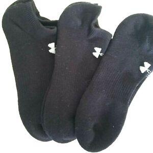 Womens Under Armour 3 Pair Air Cushion No Show Socks Black SZ 9/11