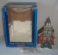 Miniature Porcelain Christmas Village Lighted Church Figurine Snow Wreath Cover