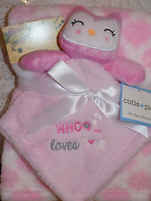BLANKET & SECURITY OWL COMBO LOT 2 WHOO LOVES YOU CUTIE PIE GEO PINK WHITE PLUS