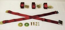 55 56 57 Chevy Front and Rear Seat Belts Burgundy, Set of 4