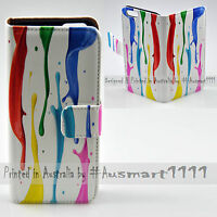 For HTC Series Mobile Phone - Colour Paint Print Flip Case Wallet Phone Cover