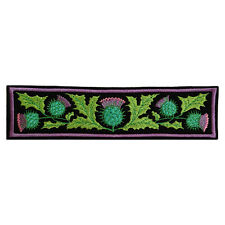 Embroidered Scottish Thistle Emblem Iron Sew On Black Felt Appliqué Patch 6.5in