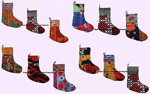Indian Bohemian Recycled Vintage Kantha Cotton Christmas stockings 5 Piece Set
