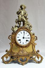 Antique 1855 French Clock Bronze Spelter Statue Painter Romantic