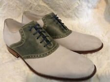COLE HAAN AIR COLTON WINGTIP OLIVE GREEN LEATHER & OFF WHITE & SUEDE OXFORD 11 M