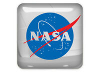 "NASA 1""x1"" Chrome Domed Case Badge / Sticker Logo"