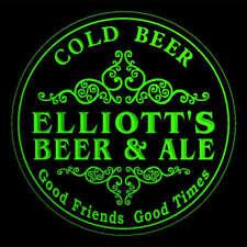 4x ccqs0577-g ELLIOTT'S Beer & Ale Cold Beer Bar Engraved Coasters