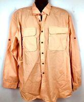 L.L. Bean mens pale orange fishing athletic shirt XL button front vented l/s