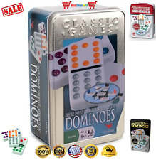 Cardinal Double 12 Color Dot Mexican Train Dominoes in Tin Domino Game Play USA