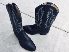 TONY LAMA OSTRICH LEATHER Cowboy Western Boots Mens Sz 9D Black Flame Embroidery