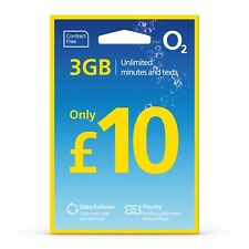 O2 SIM Card - Loaded with £10 giving 3GB Data, Unlimited Mins & Texts for 28Days