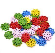 Flower Buttons 2cm 10 Pieces - Mixed Colours Australian Seller