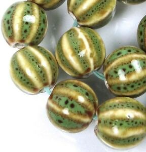 15 Green Beige Black Raku Porcelain Pumpkin Melon Corrugated Round Beads 12x11mm
