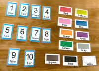 Colours Numbers Flash Cards Kids Toddler Preschool EYFS Early Learning Resource