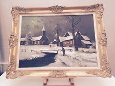 Huile sur toile Paysage Hiver Village Signée Grand Format 85x65cm