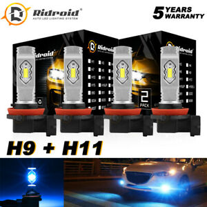 4X High Low Beam / Low + Fog 8000K H9 H11 LED Headlight Combo Bulbs Kits