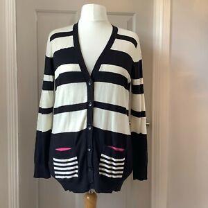 Fenn Wright Manson Black & Off-White Striped Cardigan XL (16-18) Cotton/Cashmere