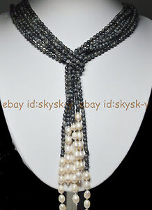 Long Charming 3 Strands 4mm Gray Labradorite Beads & White Pearl Necklac 50 Inch