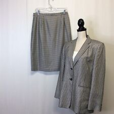 Talbots 10 Two Piece Skirt Suit Black White Houndstooth Silk Cotton Tweed Look