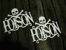 2 POISON WOOD CUT OUT SIGNS labels tags halloween crafts curio cabinet