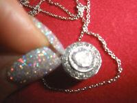 OWN ANTIQUE 1/2 CT ROSE CUT DIAMOND 14K PENDANT,NECKLACE FREE 14K WG CHAIN