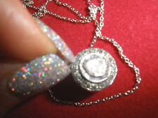 OWN ANTIQUE 1/2 CT ROSE CUT DIAMOND 14K PENDANT,NECKLACE FREE 14K WG CHAIN