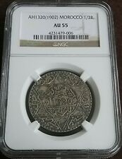 MOROCCO AH1320 (1902) Silver 1/2 RIAL Slabbed Certified Graded NGC AU55 Lovely!