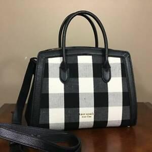 Kate Spade Knott Gingham Medium Pebbled Leather Satchel Handbag Black Multi Gold