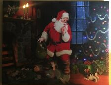 "Canvas Wrapped Christmas Wall Art ""Santa's Secret"" Tom Newsom LED & FIBER OPTICS"