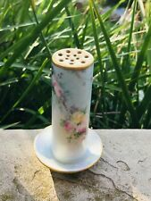 Antique Hohenzollern Germany Hatpin Stick Hat Pin Holder Floral Gold Porcelain