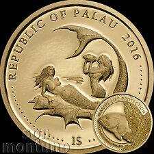 2016 Palau $1 - CORAL HIND FISH - Marine Life Protection 24K GOLD Mermaid Coin