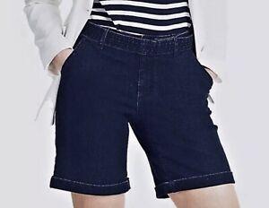 Women's Plus Size Stretch Denim Shorts Size 18 20 22 24 elasticated Blue New 485