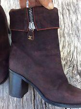 Authentique boots cuir bordeaux Chanel 38