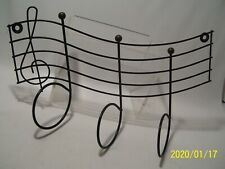 Musical Notes Shaped Wall Hanger Black Metal Decorative Decor Holder New
