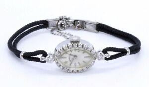 Ladies Vintage Hamilton 14K Solid White Gold & Diamond Bezel Wind-Up Dress Watch